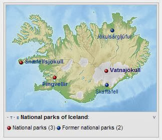 map of Iceland's national parks, Vatnajokull map, Skaftafell map