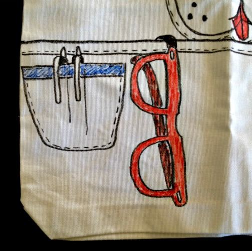 DIY Doggie Tote with Trompe l'oeil pocket and glasses