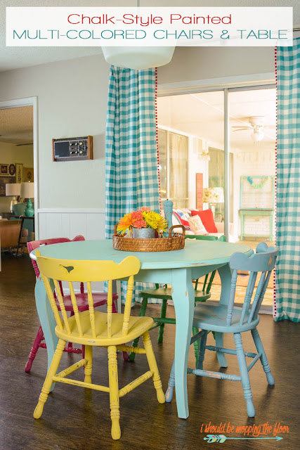table and chairs makeover with chalk paint