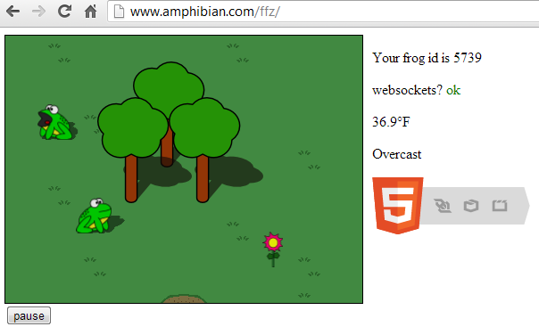 Amphibian Abstracts: Node js and Socket io Allow Frogs to Play Together