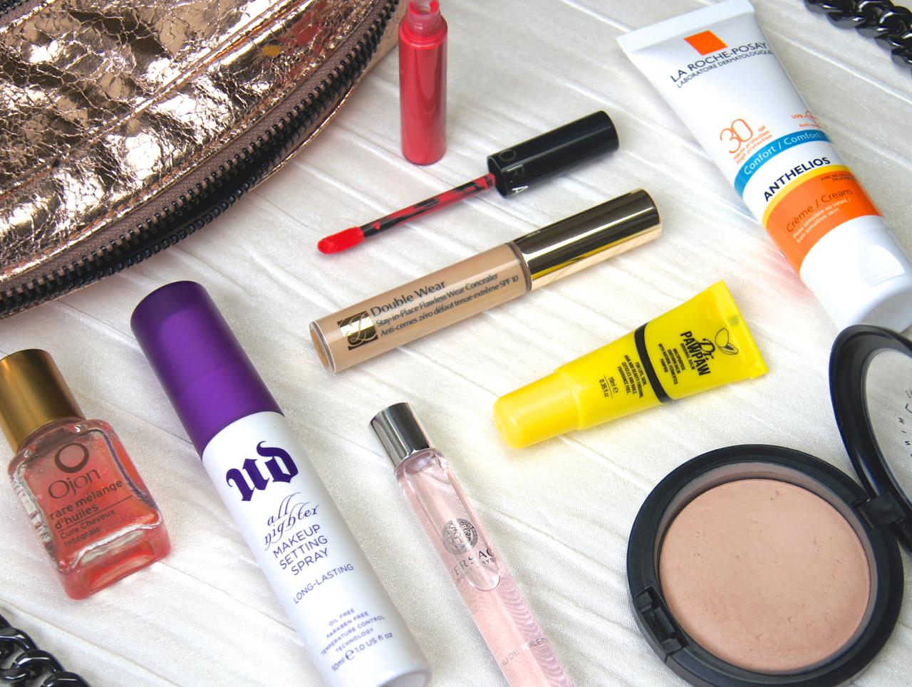 summer beauty what's in my handbag essentials spf powder concealer fragrance setting spray hair oil bright lipstick