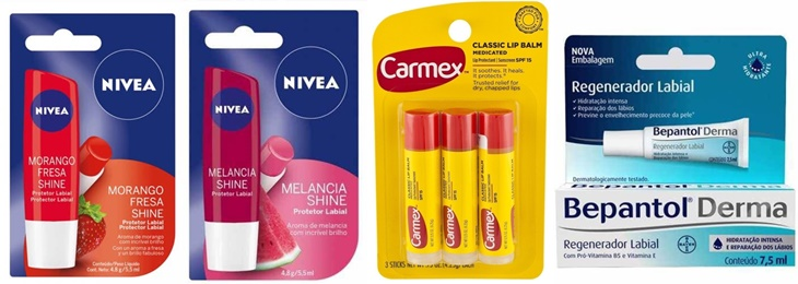 Hidratante Labial Nivea, Carmex e Bepantol Derma