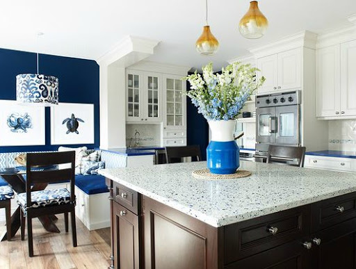 Blue and White Kitchen with Recycled Glass Countertop Island
