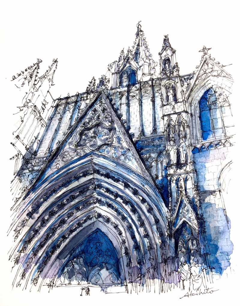 03-Barcelona-Cathedral-Spain-Akihito-Horigome-Travelling-Drawing-and-Painting-www-designstack-co