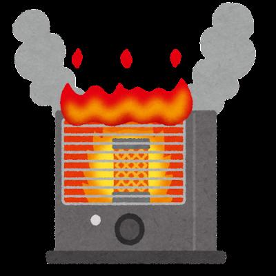 ストーブからの出火のイラスト