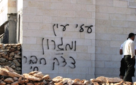 anti-Christian graffiti in Hebrew on the walls of Baptist House church