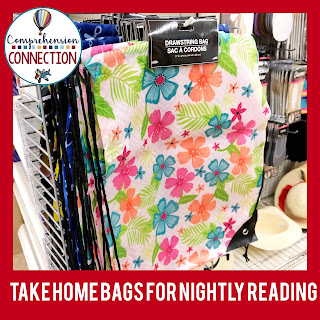 Fun takehome bags can add pizzazz to your nightly reading routine. You can find them at the Target Dollar Spot or in your local Dollar Tree store.
