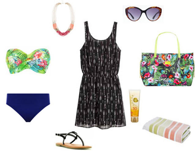 Bikini top cai-cai com padrão floral e alegre, cueca azul escura pouco cavada, vestido preto e branco estampado, sandálias rasas pretas, mala padrão floral bastante colorida