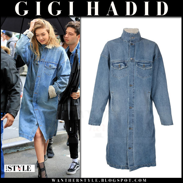Gigi Hadid in blue denim coat what she wore model style