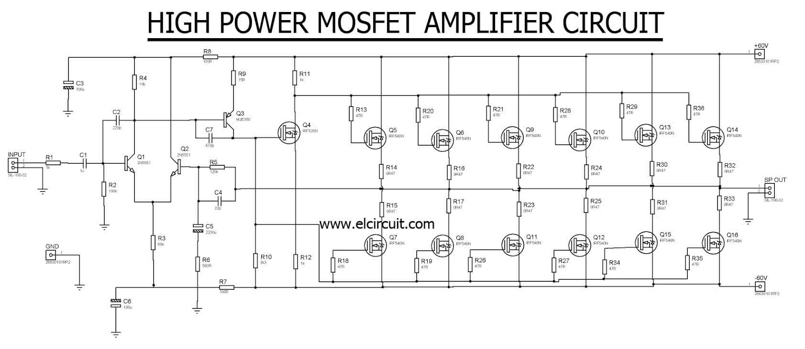 Schematic Diagram Of Power Amplifier 1000w 200 Watt For Car By 2sc2922 2sa1216 High Mosfet Irf540n Electronic Circuit