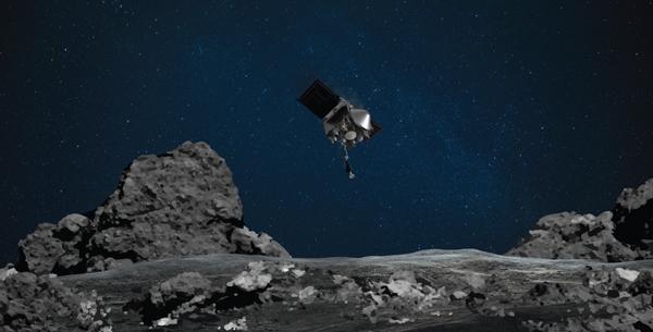 An artist's concept of NASA's OSIRIS-REx spacecraft approaching asteroid Bennu's surface to obtain soil samples.