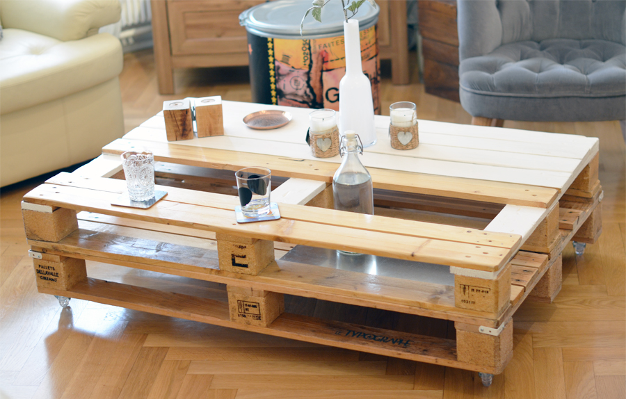 Table basse en bois de palettes double support alu et for Table en palette de bois