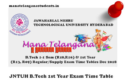 JNTUH B.tech first year Regular Supplementary examinations Time Table 2018