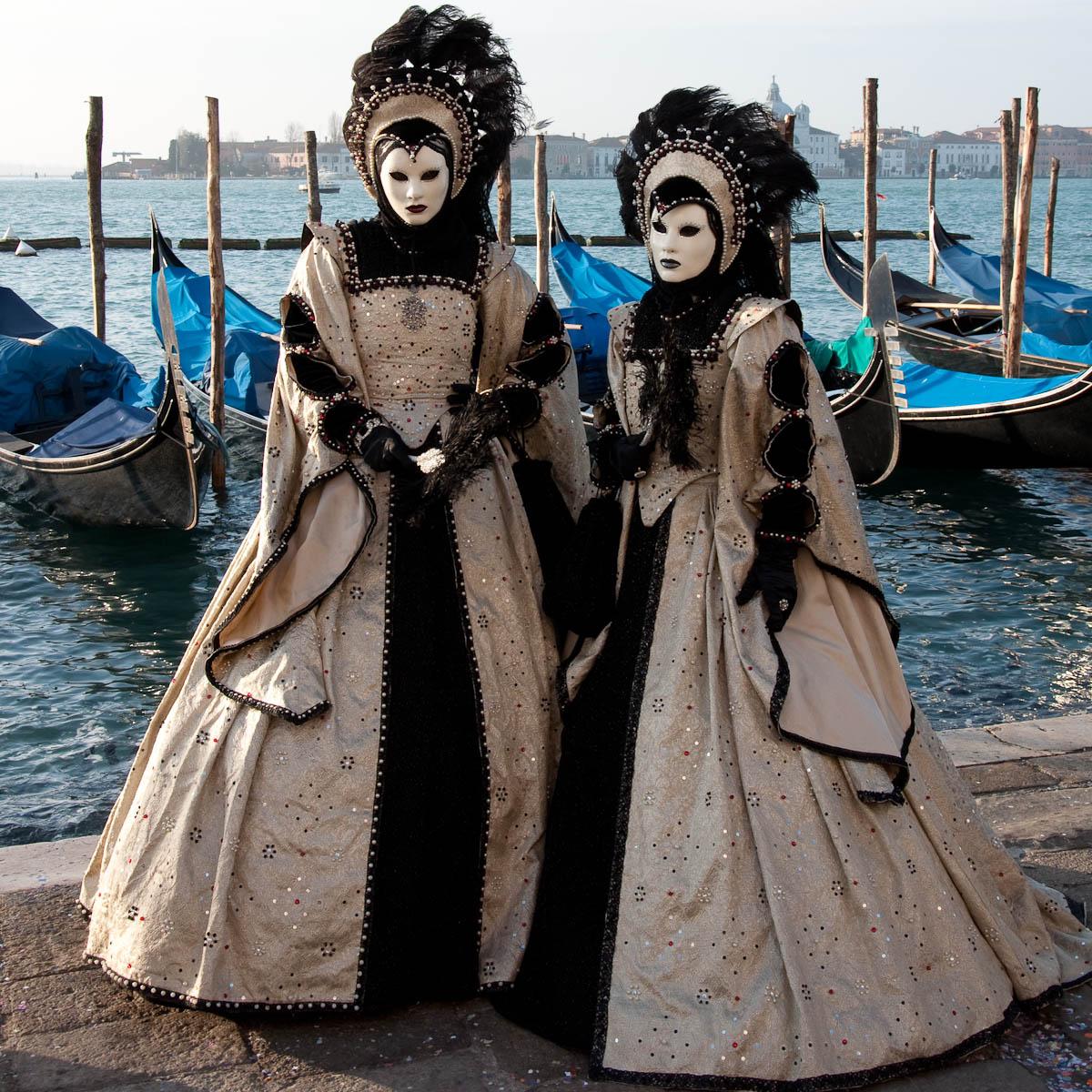 Masks with gondolas, Venice Carnival 2011, Venice, Veneto, Italy