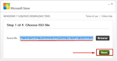 Windows 7 USB DVD Download Tool - Choose Next