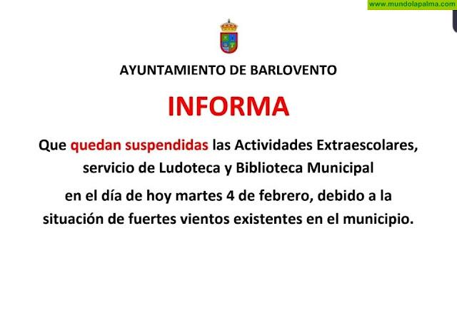 Barlovento suspende todas las actividades extraescolares previstas para hoy