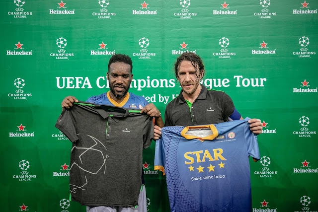 Puyol and Okocha Play An Unmissable Match in Uyo