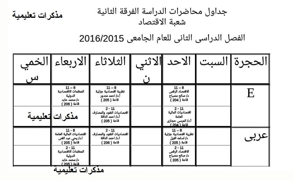 جدول محاضرات كلية الدراسات الاقتصادية والعلوم السياسية بجامعة الاسكندرية الترم الثانى 2016