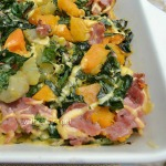 Healthy, delicious, oven baked Bacon Butternut and Sweet Potato Casserole can be served for lunch or dinner