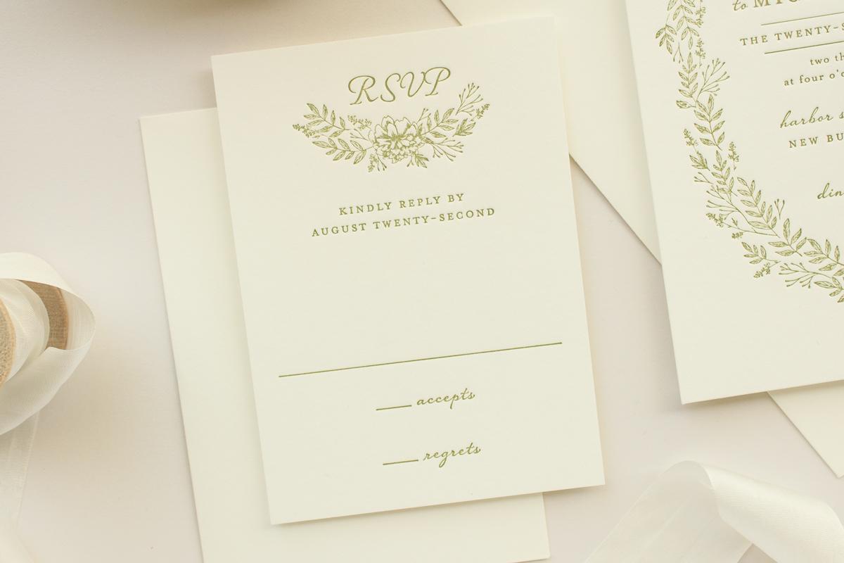 Vintage Letterpress Invitations with Floral Wreath: Enamored ...