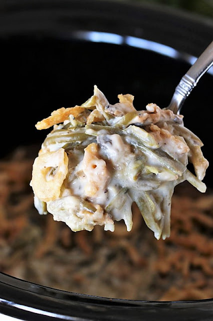 Serving Spoon of Crock Pot Green Bean Casserole Image