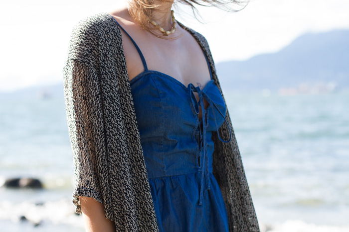 Jackson Rowe Kimono, Tobi denim romper, BP Gladiator Sandals, olivia solie necklace