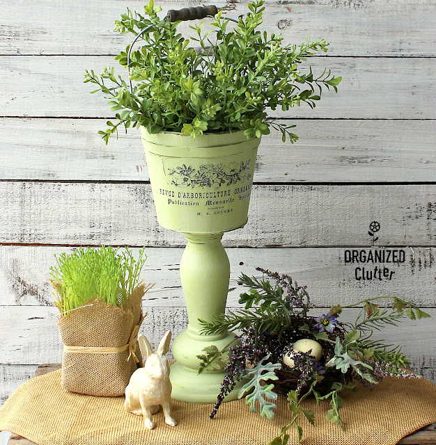 Thrifted Wooden Bucket & Candlestick Pedestal Planter #upcycle #repurpose #springdecor #primamarketingtransfer #frenchcountry #pedestalplanter