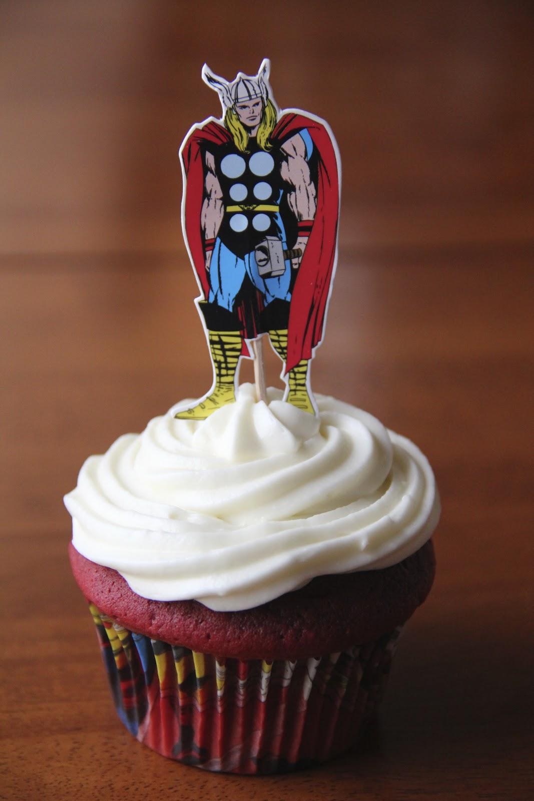 Delightfully Random Red Velvet Avengers Birthday Cupcakes