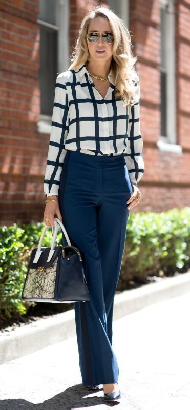 cute business outfit : plaid shirt + bag + pants