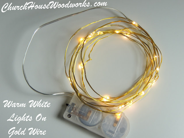 Warm White Lights On Gold Wire LED Battery Operated String Lights