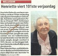Henriette Debrusle gevierd als 101-jarige
