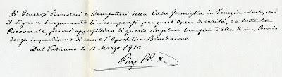Testo del Papa Pio X (oggi San Pio X) che benedice la Fondazione di Casa Famiglia San Pio X