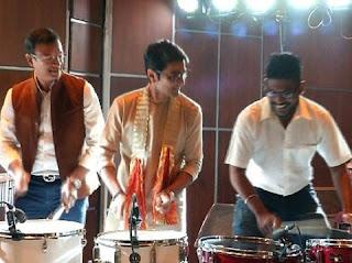Prasenjit busy to beat drum at puja pandel