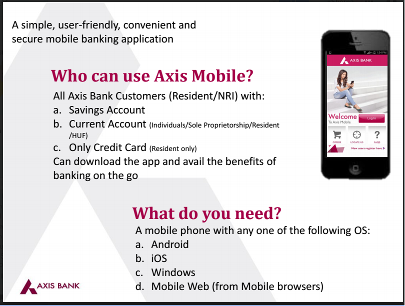 how to open mobile banking axis bank
