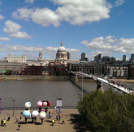 London notes: St. Paul's Cathedral and the Millennium Bridge from the Tate Modern balcony