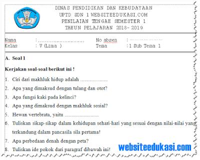 Soal PTS/ UTS Kelas 5 SD/MI Semester 1 K13 Tahun 2018/2019