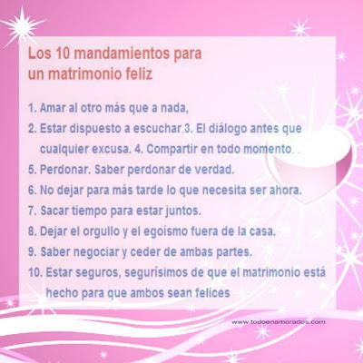 Los 10 mandamientos para un matrimonio feliz