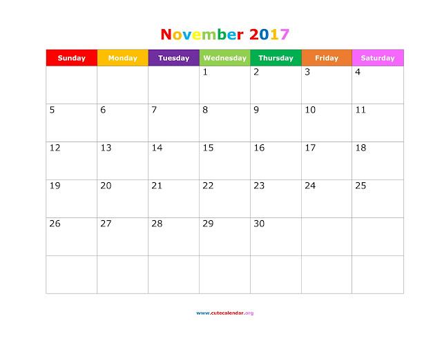 November 2017 Calendar, Printable November 2017 Calendar, Calendar November 2017, November 2017 Calendar Printable, November 2017 Calendar Template, November Calendar 2017
