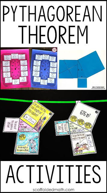 My friends and I collaborated on this list of fun Pythagorean Theorem activities and teaching ideas to engage all of your students. Included in this post are links to  Pythagorean Theorem games, puzzles, math pennants, coloring activities for word problems, math word walls, task cards, notes and even a way to make proving the Pythagorean Theorem fun!