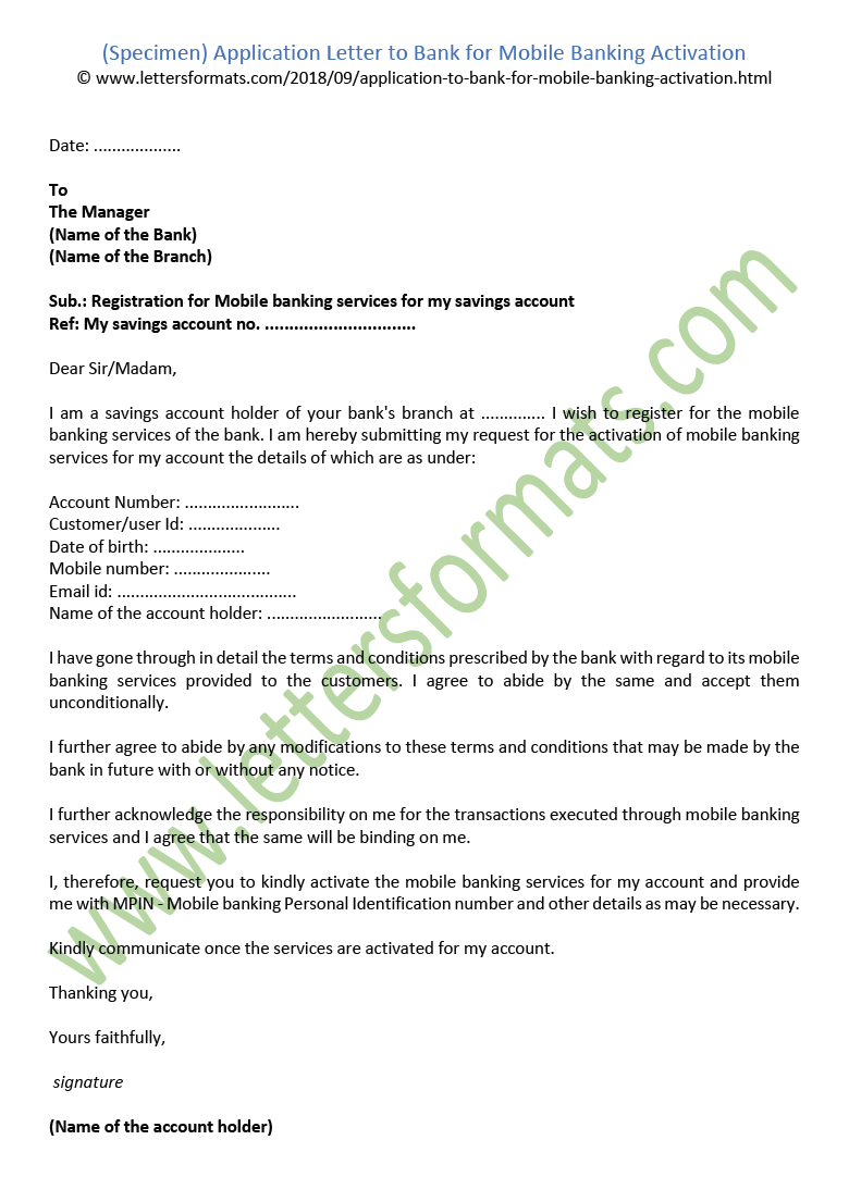 Application Letter to Bank for Mobile Banking Activation ...
