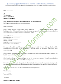 Application Letter to Bank for Mobile Banking Activation (Sample)