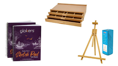 sketch pads, easel, chalk storage, drawers
