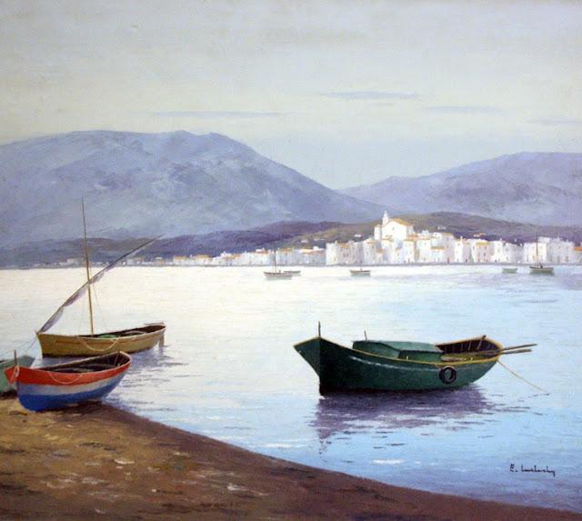 Eduard Malvehy, Barcas Ancladas en Cadaqués, Pueblo de Cadaqués, Barcas de Cadaqués, Cadaqués en Pintura, Painting of Cadaqués