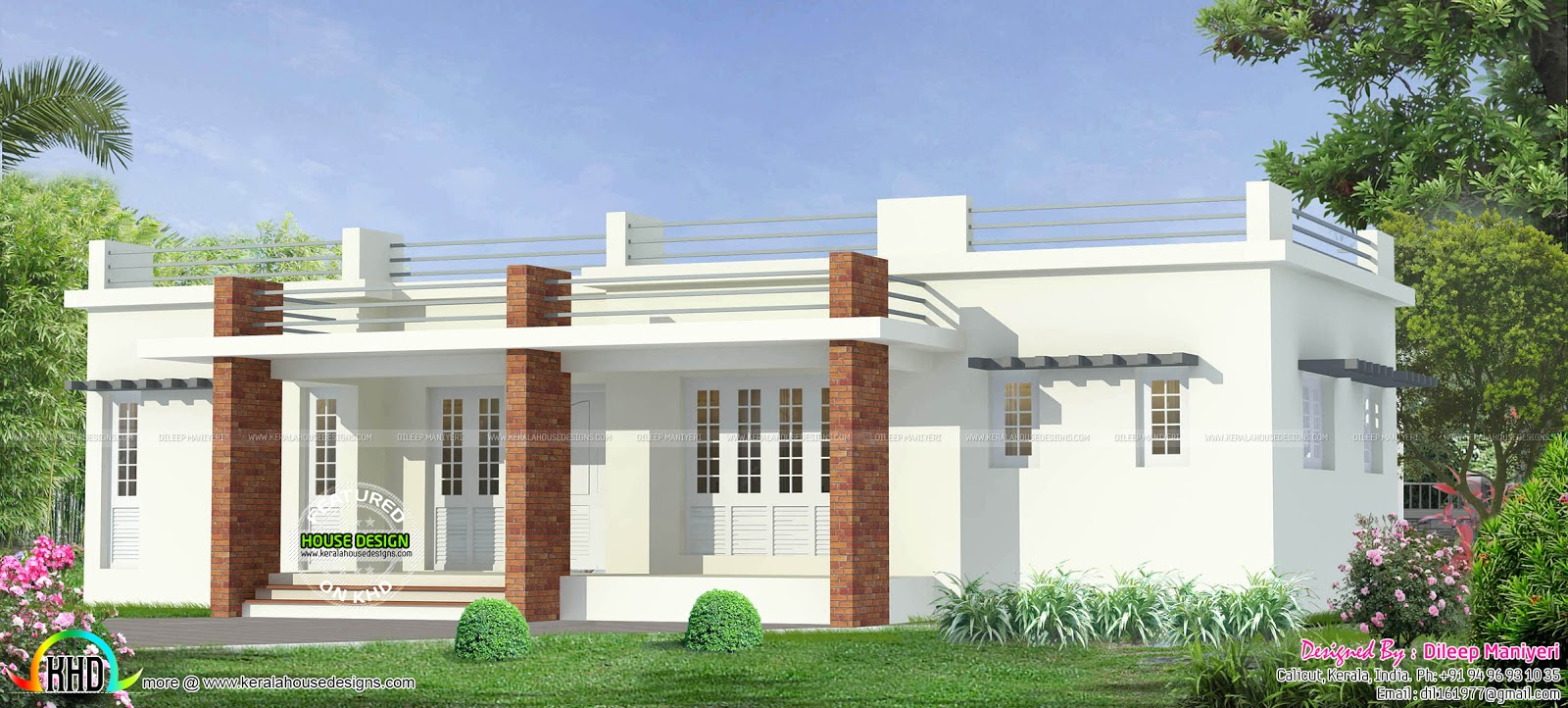 Front Elevation Of Flat Roof Houses : Single floor house elevation models paint design