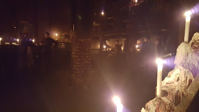 Inside Hambara, lit only with candles