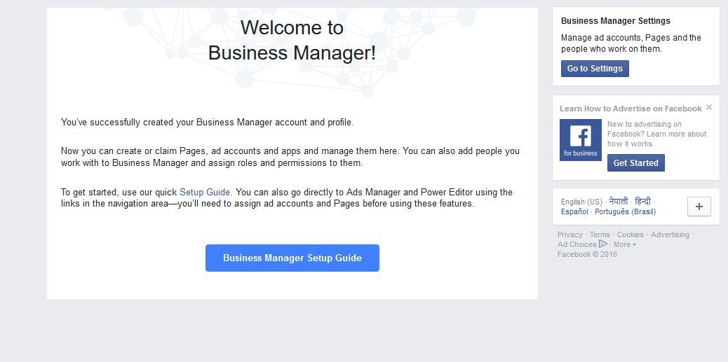 Create an account to business manager