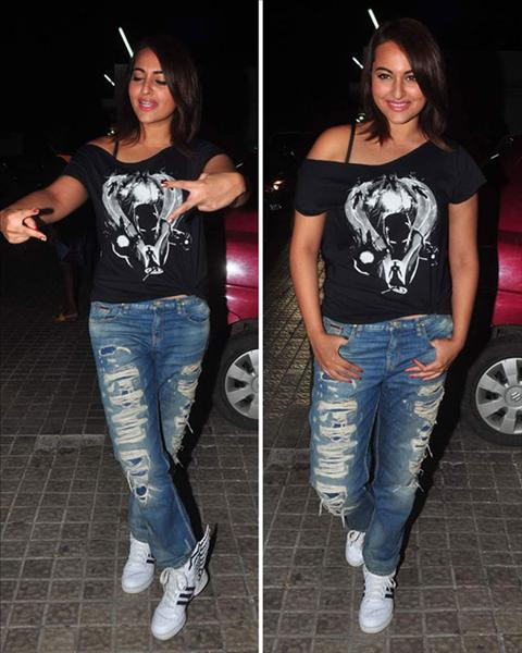 Sonakshi Sinha in ripped jeans
