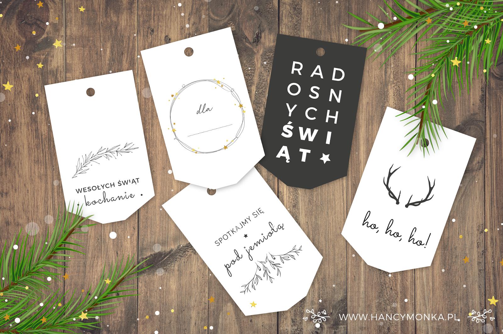 etykietki prezentowe, świąteczne etykietki, etykietki do druku, christmas gifts labels, labels, christmas labels, bileciki prezentowe, zawieszki do prezentów, święta, boże narodzenie, diy, do druku, printable, hancymonka, blog, kreatywny