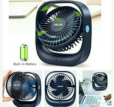 Ablon USB Fan - 2000mAH Rechargeable Cooling Fan
