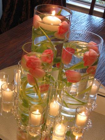 centro de mesa jantar romântico
